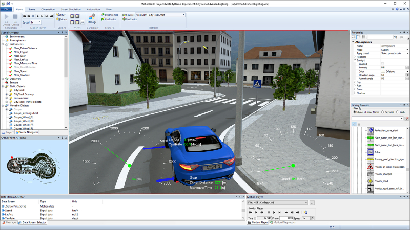 A screenshot of MotionDesk software from dSPACE shows simulation of vehicle sensors